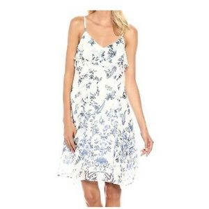 Lucky Brand Dress White Blue Ruffle Floral  Sheath